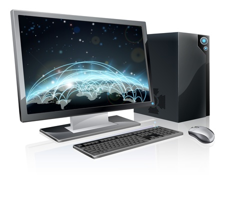 link work: An illustration of desktop PC computer workstation with world globe on the screen. Monitor, mouse keyboard and tower Illustration