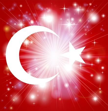 enlist: Flag of Turkey background with pyrotechnic or light burst and copy space in the centre