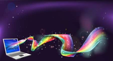 An abstract background of laptop computer with a rainbow flowing out of it Stock Vector - 16786225