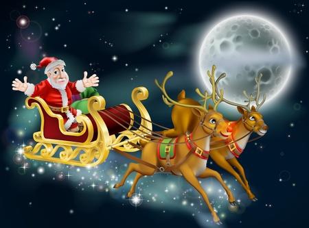 delivering: Una ilustraci�n de la Navidad de Pap� Noel y trineo entregando regalos en Nochebuena con la luna en el fondo