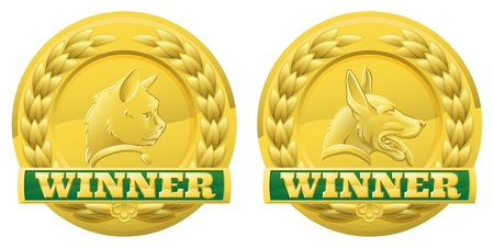 product reviews: Gold cat and dog pet winners medals for pet shows or for pet related product reviews or other cat and dog pet competitions Illustration