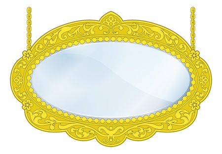 old mirror: Illustration of a fancy boutique mirror with gold frame and lots of copy-space in the centre Illustration