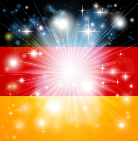 enlist: Flag of Germany background with pyrotechnic or light burst and copy space in the centre