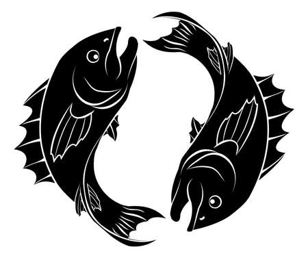 fish silhouette: An illustration of stylised fish forming a circle perhaps a fish tattoo