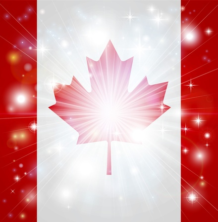 pyrotechnic: Flag of Canada background with pyrotechnic or light burst and copy space in the centre