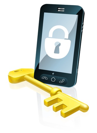 locked icon: A mobile phone security concept. Mobile phone with gold key and padlock lock icon on the screen Illustration