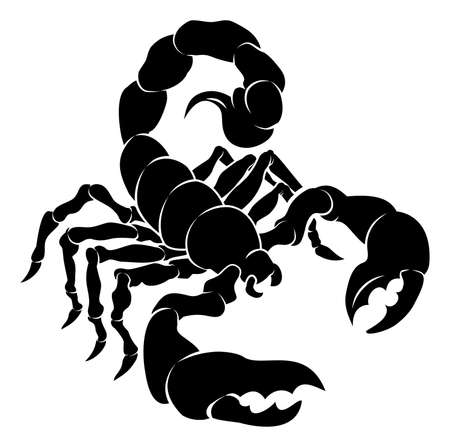 twelve: An illustration of a stylised black scorpion perhaps a scorpion tattoo