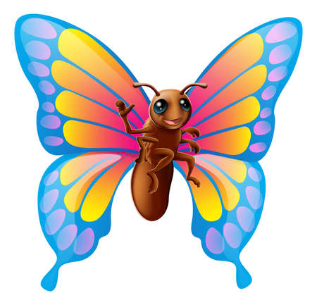Illustration of a happy cute cartoon butterfly mascot waving Vector