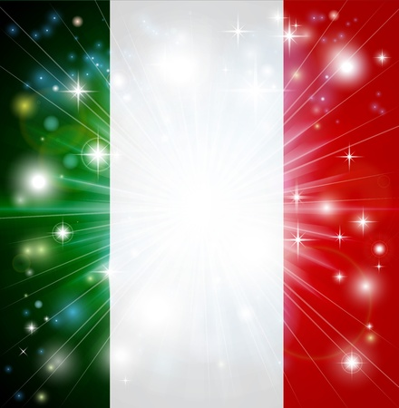 Flag of Italy background with pyrotechnic or light burst and copy space in the centre Stock Vector - 16875302