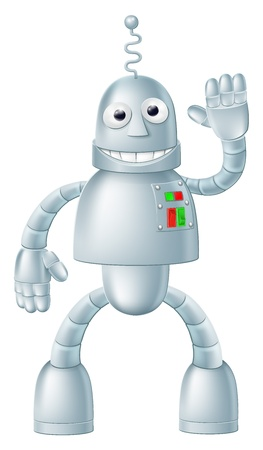 robot cartoon: A drawing of a cute fun robot character waving and smiling