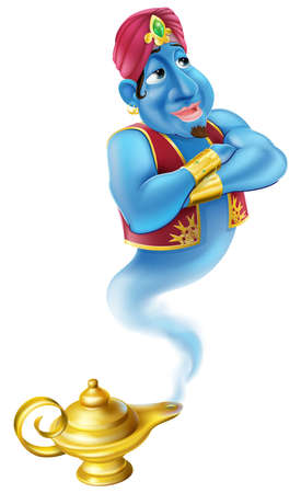 pantomime: Illustration of a friendly Jinn or genie coming out of a gold magic oil lamp like the one in the Aladdin story