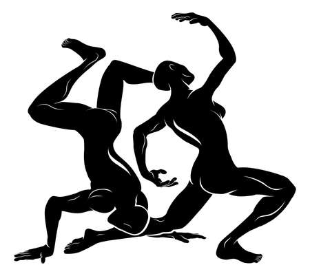 An illustration of a stylised black dancers or gymnasts perhaps a dancer tattoo Vector