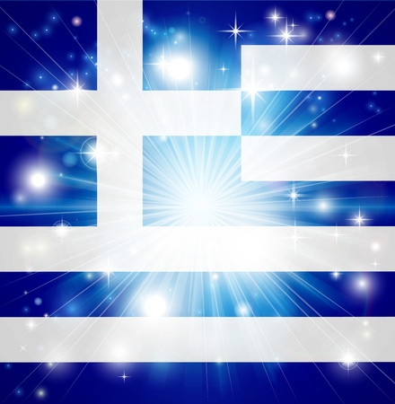 pyrotechnic: Flag of Greece background with pyrotechnic or light burst and copy space in the centre Illustration