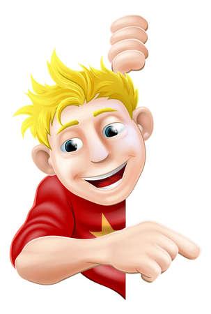 Une illustration d'un personnage cool jeune homme amical derrière un panneau ou une bannière pointant un doigt sur l'
