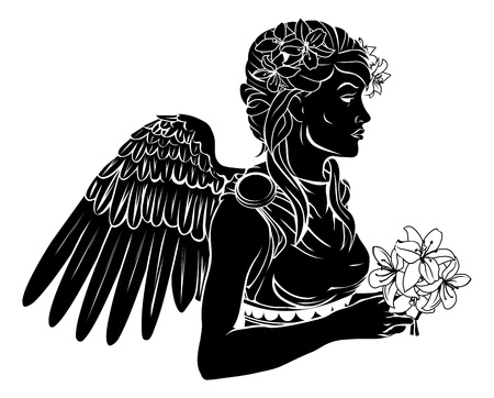 virgo zodiac sign: An illustration of a stylised black angel woman perhaps an angel tattoo