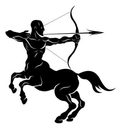 sagitario: Una ilustración estilizada de un centauro arquero negro tal vez un centauro arquero tatuaje