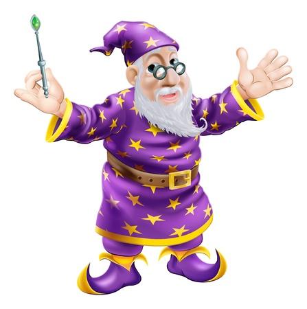 mago: Una historieta linda carácter amable viejo mago que sostiene una varita
