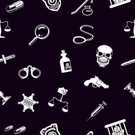 A repeating seamless crime, law or legal background tile texture with lots of icons of different items related to crime and law enforcement Vector