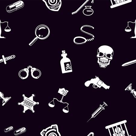 murder scene: Un crimen seamless, la ley o la textura de fondo legal azulejo con un mont�n de iconos de diferentes temas relacionados con la delincuencia y la aplicaci�n de la ley Vectores