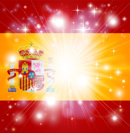 Flag of Spain background with pyrotechnic or light burst and copy space in the centre Stock Vector - 16951845