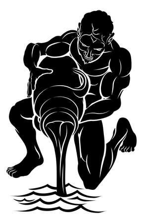 astrol�gico: Una ilustraci�n de un portador de agua negro estilizado tal vez un tatuaje portador de agua Vectores