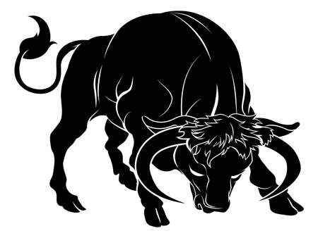 zodiac signs: An illustration of a stylised black bull perhaps a bull tattoo Illustration