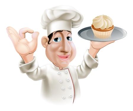 chef caricatura: Un panadero sonriente feliz con una torta en una bandeja haciendo un gesto bien Vectores