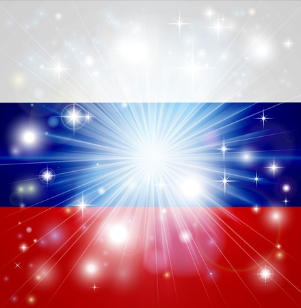 russian federation: Flag of Russian Federation background with pyrotechnic or light burst and copy space in the centre