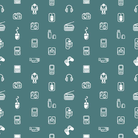 back ground: A repeating seamless gadgets and technology background tile texture with lots of different tech and gadget icons