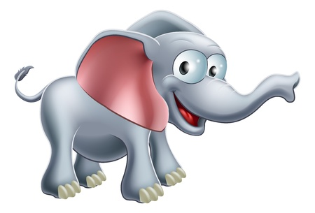 An illustration of a cute happy smiling cartoon elephant Stock Vector - 17076154