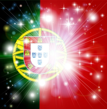 portugese: Flag of Portugal background with pyrotechnic or light burst and copy space in the centre