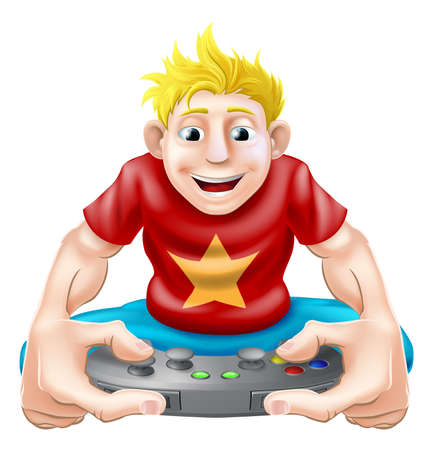 game pad: A cartoon drawing of a young gamer playing on his games console