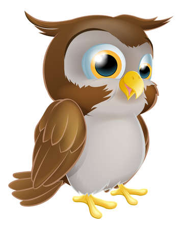 wise old owl: An illustration of a cute standing cartoon owl character