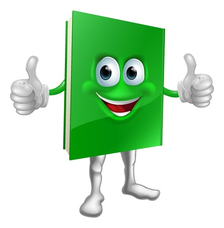 A cartoon green thumbs up book mascot man education concept Stock Vector - 17174617