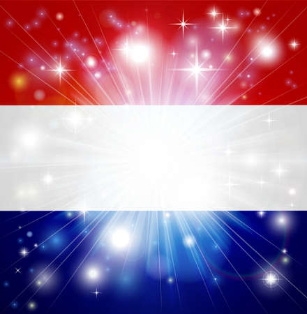 red white blue: Flag of the Netherlands background with pyrotechnic or light burst and copy space in the centre Illustration