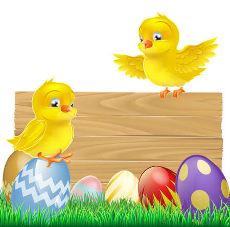 An isolated Easter Sign with Easter eggs and cartoon yellow chicks one of which is standing on the sign Vector
