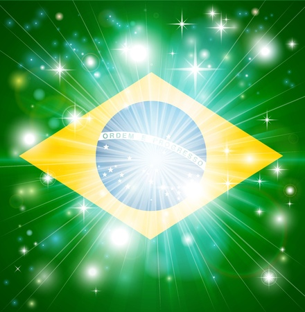 back ground: Flag of Brazil background with pyrotechnic or light burst and copy space in the centre