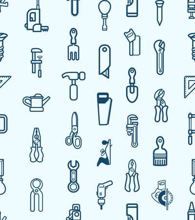 herramientas de construccion: Un fondo sin fisuras mosaico la textura con muchas herramientas diferentes