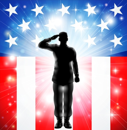 A US military armed forces soldier in silhouette saluting in front of an American flag background Vector