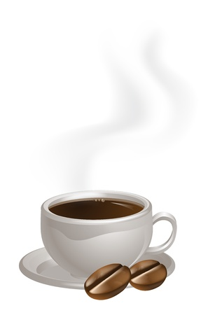 steaming: A steaming cup of coffee and two coffee beans drawing Illustration