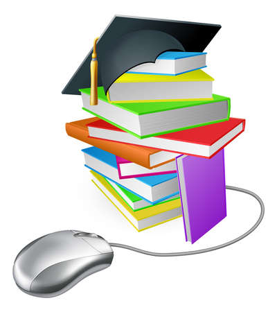 Online education, training or learning concept, a computer mouse connected to a stack of books with graduation cap on it.  Vector