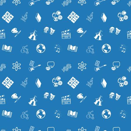 tilable: Una ripetizione senza soluzione di sfondo educativo soggetti trama piastrelle con un sacco di disegni di diverse categorie di istruzione o icone argomenti oggetto