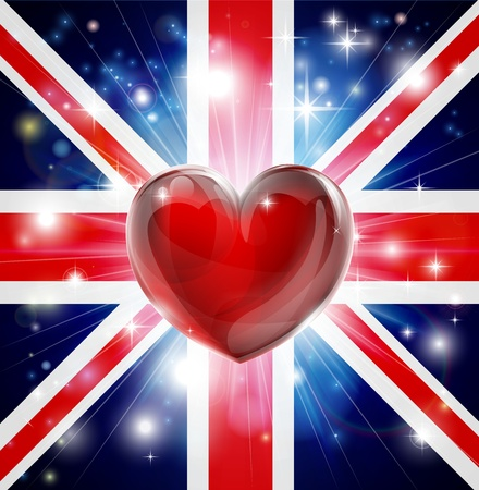 Union Jack patriotic background with pyrotechnic or light burst and love heart in the centre Stock Vector - 17293157