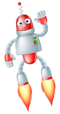 an adorable: A happy cute flying red and silver robot man with boosters on his feet taking off and waving