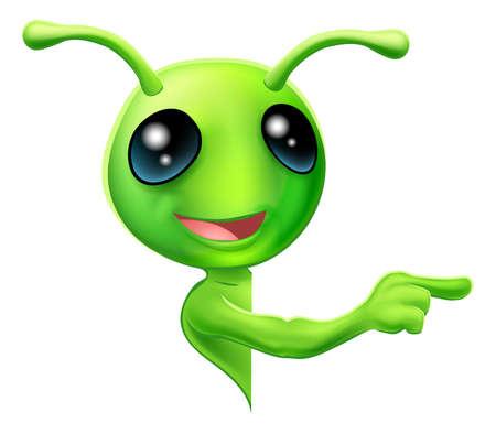 extraterrestres: Una ilustraci�n de un extraterrestre verde lindo de la historieta que mira a escondidas alrededor de un signo o bandera y apuntando a lo