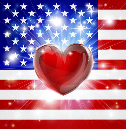 back ground: Flag of America patriotic background with pyrotechnic or light burst and love heart in the centre