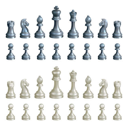 bishop chess piece: An illustration of a complete set of chess pieces in black and white