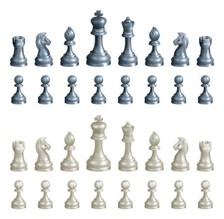 ajedrez: Una ilustraci�n de un juego completo de piezas de ajedrez en blanco y negro