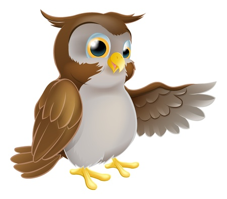 wise old owl: An illustration of a cute cartoon owl character pointing or showing something with his wing