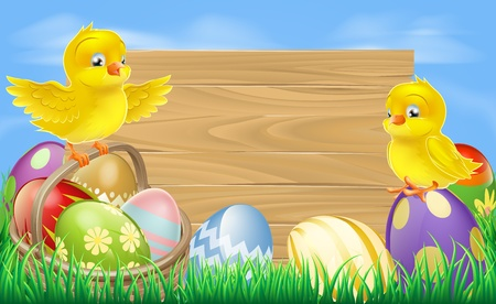 hamper: A blank wooden Easter egg sign with Easter eggs in a wooden hamper, chicks and copyspace